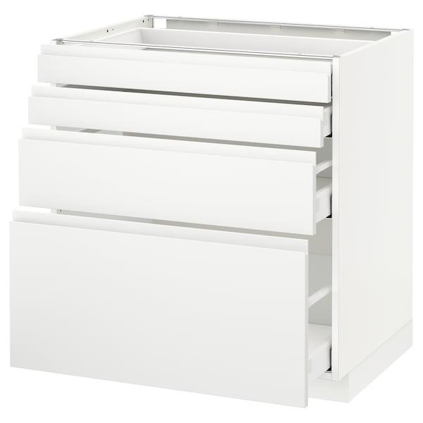 METOD / MAXIMERA Pod elem,4fr/4lad, bijela/Voxtorp mat bijela, 80x60 cm