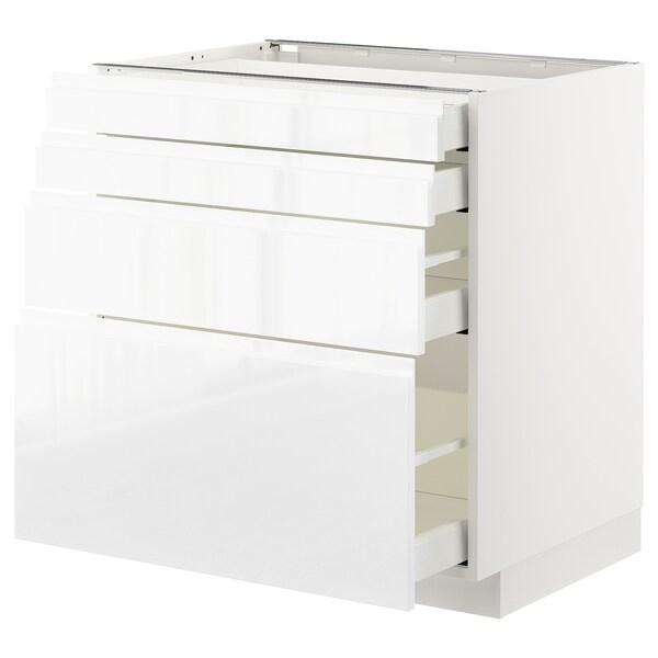 METOD / MAXIMERA Pod elem,4fr/4lad, bijela/Voxtorp visoki sjaj/bijela, 80x60 cm