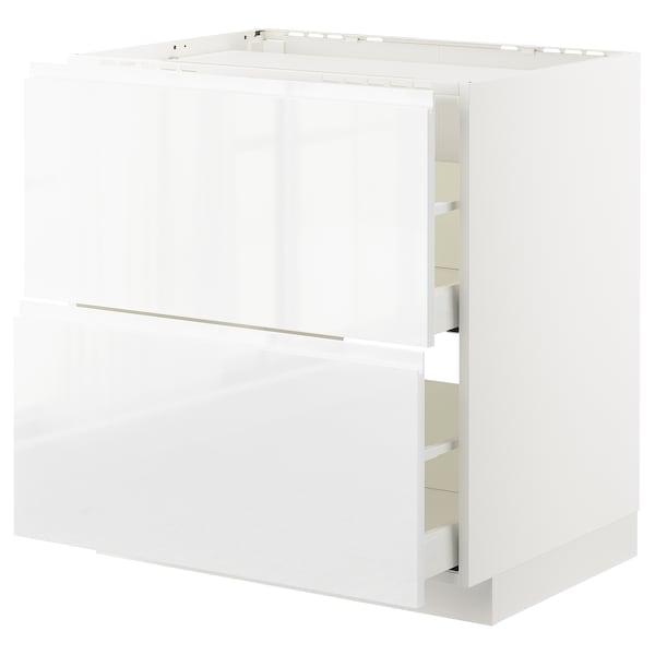 METOD / MAXIMERA Pod elem,kuh/2fr/2lad, bijela/Voxtorp visoki sjaj/bijela, 80x60 cm