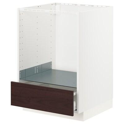 METOD / MAXIMERA Pod elem za pećnicu s ladicom, bijela Askersund/tamnosmeđa efekt jasena, 60x60 cm