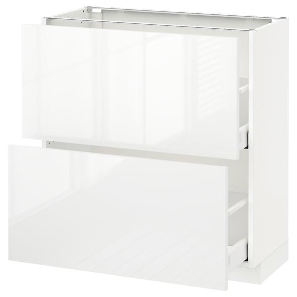 METOD / MAXIMERA Podni element s 2ladice, bijela/Ringhult bijela, 80x37 cm