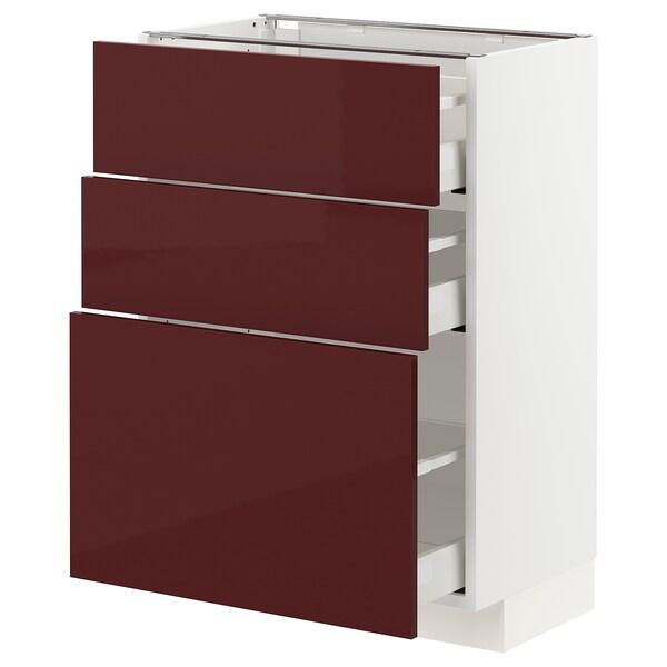 METOD / MAXIMERA Podni element s 3ladice, bijela Kallarp/visoki sjaj tamnocrveno-smeđa, 60x37 cm