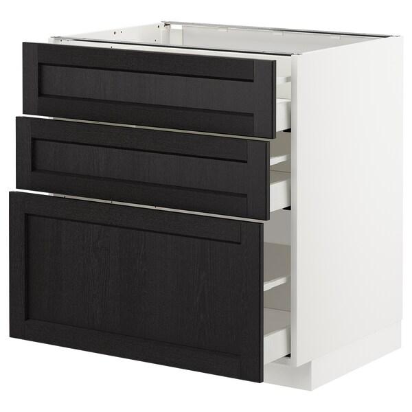 METOD / MAXIMERA Podni element s 3ladice, bijela/Lerhyttan crni bajc, 80x60 cm