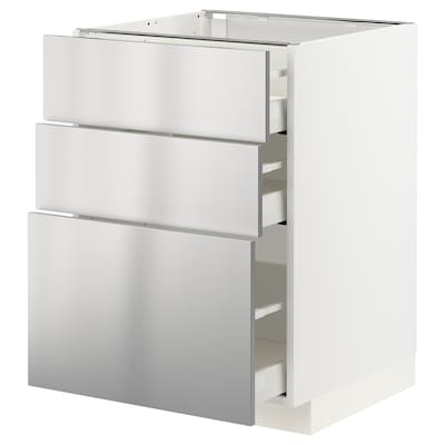 METOD / MAXIMERA Podni element s 3ladice, bijela/Vårsta nehrđajući čelik, 60x60 cm
