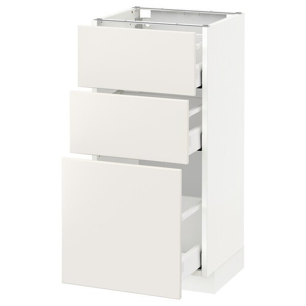 METOD / MAXIMERA Podni element s 3ladice, bijela/Veddinge bijela, 40x37 cm