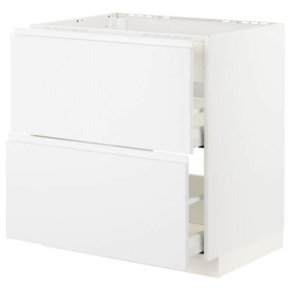 METOD / MAXIMERA Podni element s kuh/ugr napa s lad, bijela/Voxtorp mat bijela, 80x60 cm