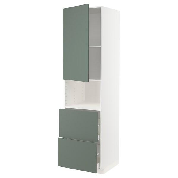 METOD / MAXIMERA Vis elem za mikro s vrat/2 ladice, bijela/Bodarp sivo-zelena, 60x60x220 cm
