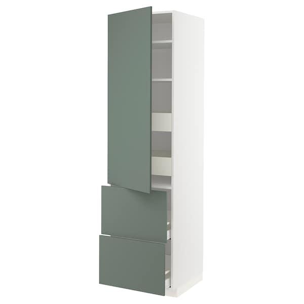 METOD / MAXIMERA Vis elm+polic/4 ladice/vr/2 fronte, bijela/Bodarp sivo-zelena, 60x60x220 cm