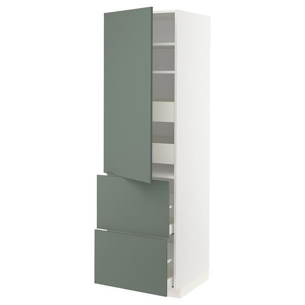 METOD / MAXIMERA Vis elm+polic/4 ladice/vr/2 fronte, bijela/Bodarp sivo-zelena, 60x60x200 cm