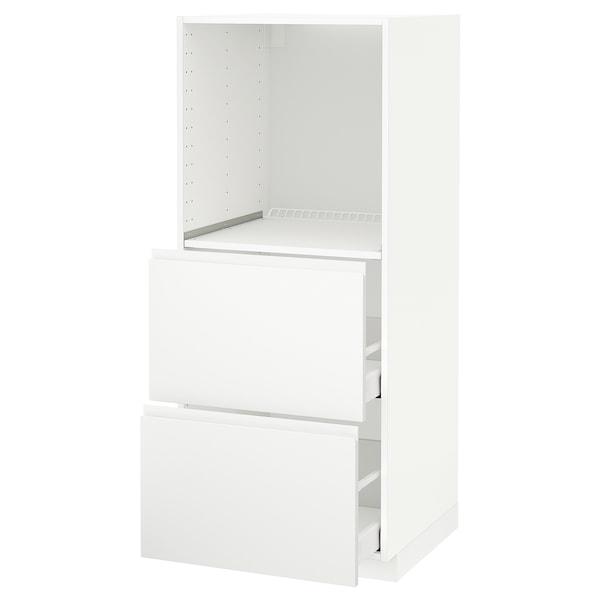 METOD / MAXIMERA Visoki elem+2 ladice za peć, bijela/Voxtorp mat bijela, 60x60x140 cm