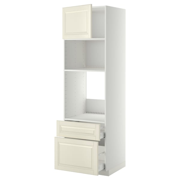 METOD / MAXIMERA Visoki element peć/mikr+vrata/2 lad, bijela/Bodbyn krem, 60x60x200 cm