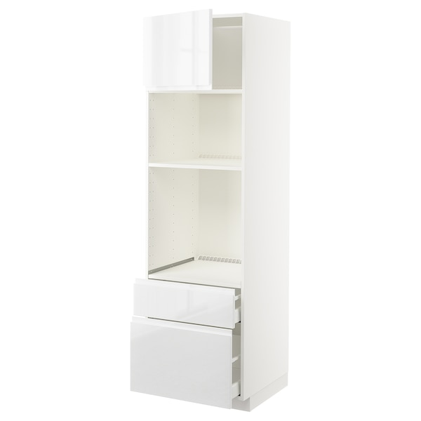 METOD / MAXIMERA Visoki element peć/mikr+vrata/2 lad, bijela/Voxtorp visoki sjaj/bijela, 60x60x200 cm