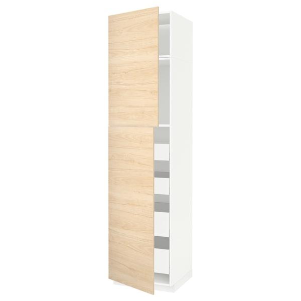 METOD / MAXIMERA Visoki element s 2 vrata/4 ladice, bijela/Askersund efekt svijetlog jasena, 60x60x240 cm
