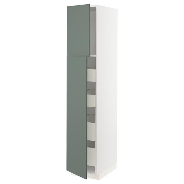 METOD / MAXIMERA Visoki element s 2 vrata/4 ladice, bijela/Bodarp sivo-zelena, 40x60x200 cm