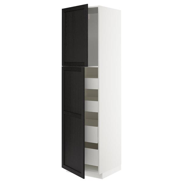 METOD / MAXIMERA Visoki element s 2 vrata/4 ladice, bijela/Lerhyttan crni bajc, 60x60x220 cm