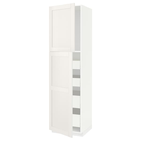 METOD / MAXIMERA Visoki element s 2 vrata/4 ladice, bijela/Sävedal bijela, 60x60x220 cm
