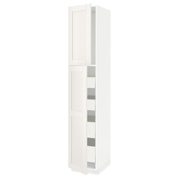 METOD / MAXIMERA Visoki element s 2 vrata/4 ladice, bijela/Sävedal bijela, 40x60x220 cm
