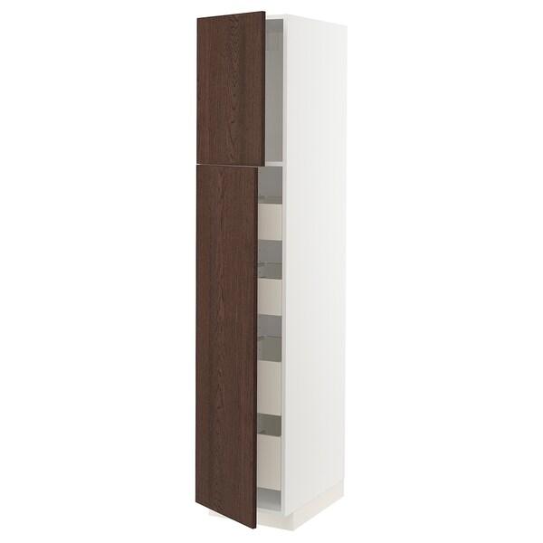 METOD / MAXIMERA Visoki element s 2 vrata/4 ladice, bijela/Sinarp smeđa, 40x60x200 cm