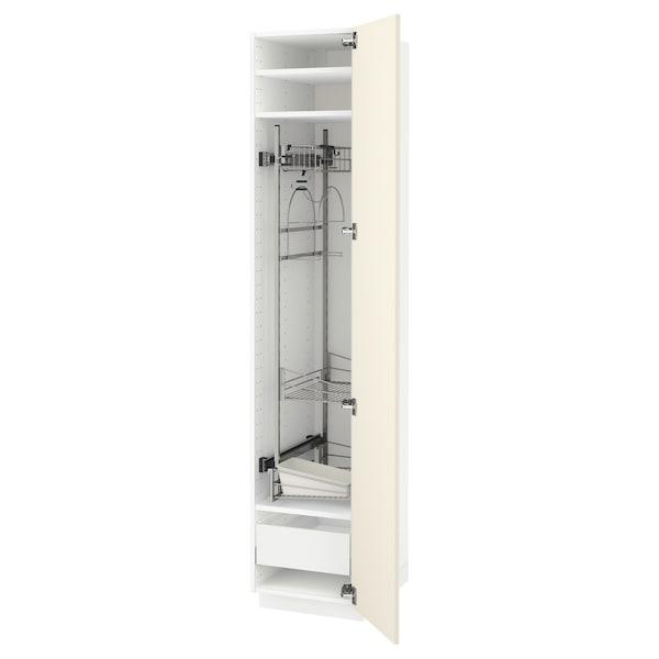 METOD / MAXIMERA Visoki element za sredst za čišć, bijela/Hittarp krem, 40x60x200 cm