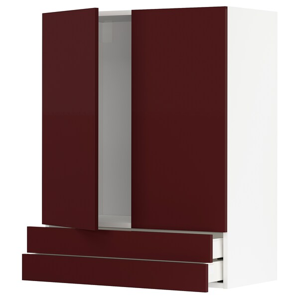 METOD / MAXIMERA Zidni elem+2vr/2lad, bijela Kallarp/visoki sjaj tamnocrveno-smeđa, 80x100 cm