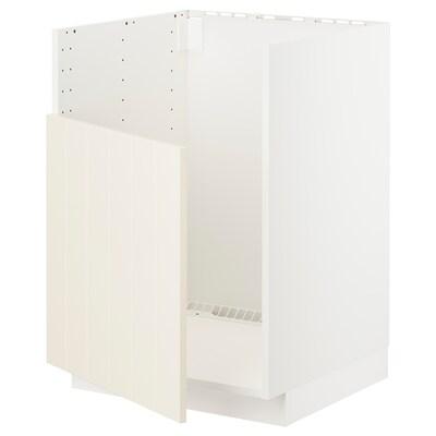 METOD Podni element za BREDSJÖN sudoper, bijela/Hittarp krem, 60x60 cm