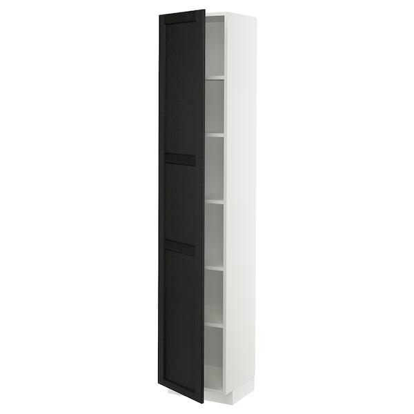 METOD Visoki element s policama, bijela/Lerhyttan crni bajc, 40x37x200 cm