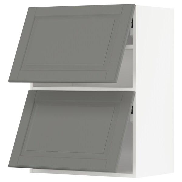 METOD vodoravni zidni element/2 vrata bijela/Bodbyn siva 60.0 cm 38.9 cm 80.0 cm