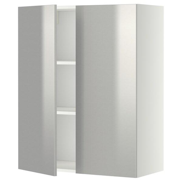 METOD zidni element s policama/2vratima bijela/Grevsta nehrđajući čelik 80.0 cm 38.8 cm 100.0 cm