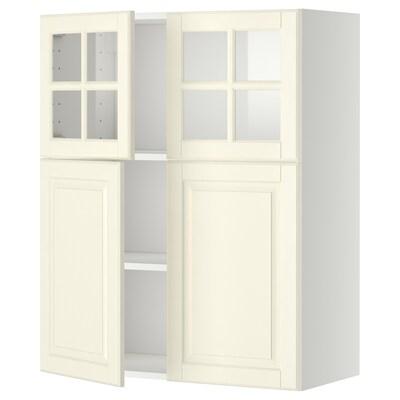 METOD Zid elem+pol/2vr/2stkl vr, bijela/Bodbyn krem, 80x100 cm