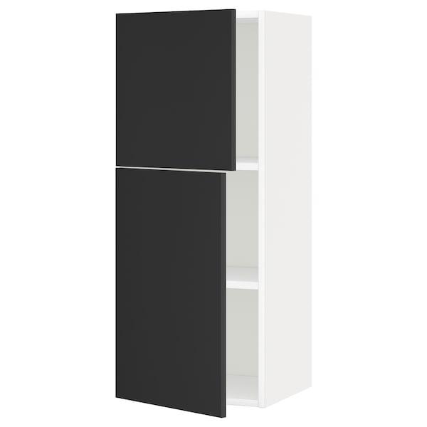 METOD Zidni element s policama/2vratima, bijela/Uddevalla antracit, 40x100 cm