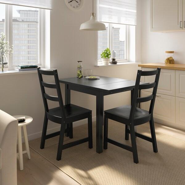NORDVIKEN Preklopni stol, crna, 74/104x74 cm