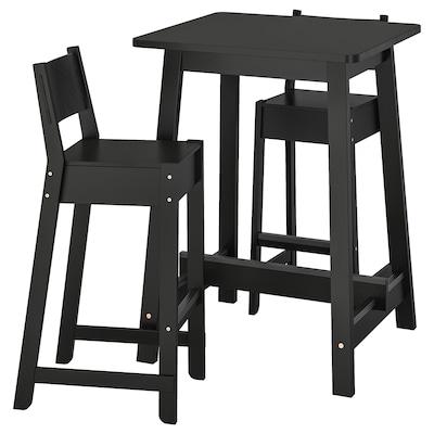 NORRÅKER / NORRÅKER Barski stol+2barska stolca, crna/crna, 74 cm