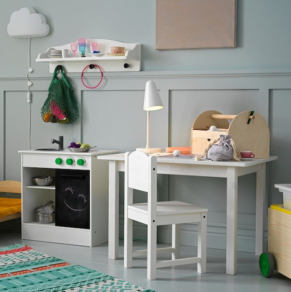 NYBAKAD Kuhinja s kliznim vratima za igru, bijela, 49x30x50 cm