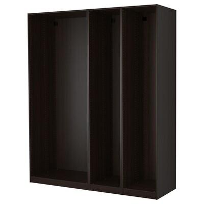 PAX 3 korpusa ormara, crno-smeđa, 200x58x236 cm