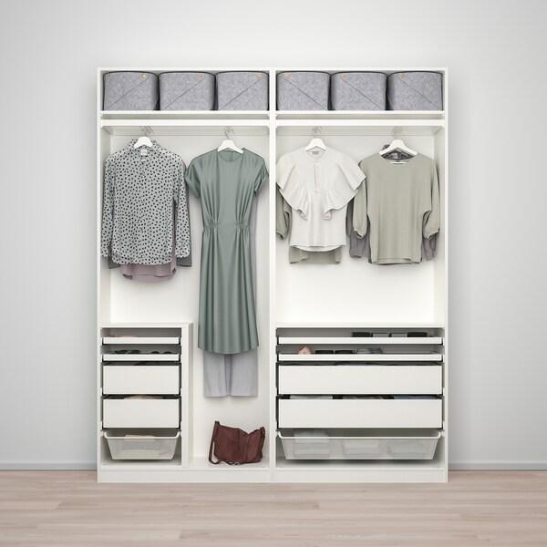 PAX / FÄRVIK/AULI Komb/ormar, bijela/bijelo staklo zrcalno staklo, 200x44x236 cm