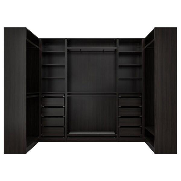 PAX Kutni ormar, crno-smeđa, 113/276/113x201 cm
