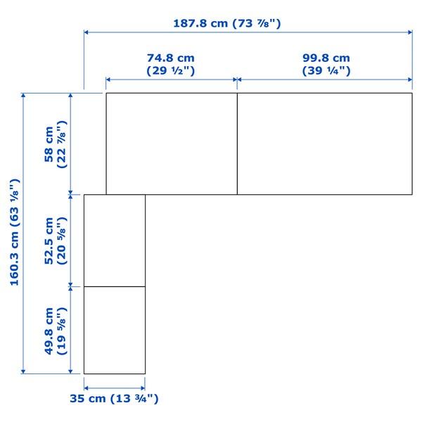 PAX Kutni ormar, efekt bijelo bajcanog hrasta, 160/188x236 cm