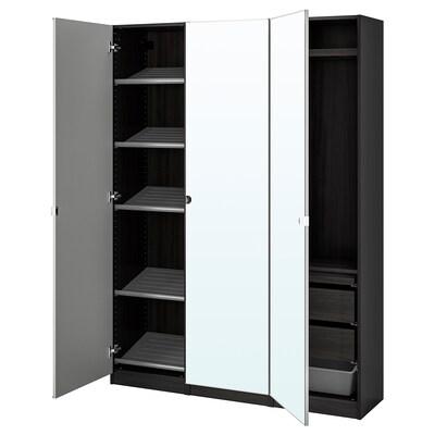 PAX / VIKEDAL Komb/ormar, crno-smeđa/zrcalno staklo, 150x38x201 cm