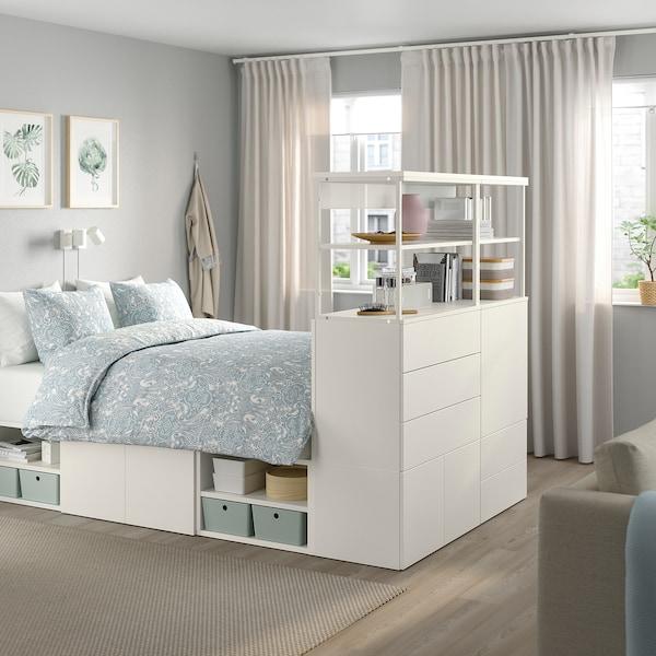 PLATSA Okvir kreveta s 5 vrata i 5 ladica, bijela/Fonnes bijela, 140x244x163 cm