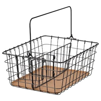 PLEJA Žičana košara s ručkom, crna, 36x27x15 cm