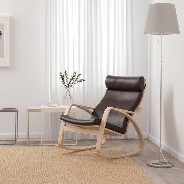 POÄNG stolica za ljuljanje bijelo bajcani hrastov furnir/Glose tamnosmeđa 68 cm 94 cm 95 cm 56 cm 50 cm 45 cm