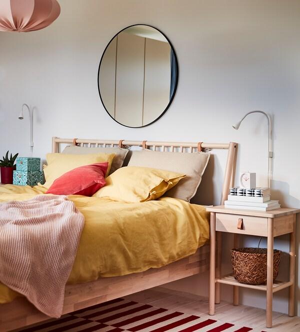 PUDERVIVA Navlaka za poplun i 2 jastučnice, svijetložuta, 200x200/50x60 cm