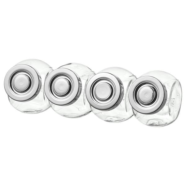 RAJTAN tegla za začine staklo/boja aluminija 8 cm 15 cl 4 kom