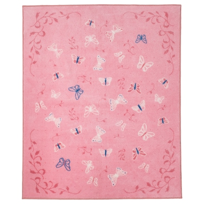 SÅNGLÄRKA Tepih, niski flor, leptir/roza, 133x160 cm