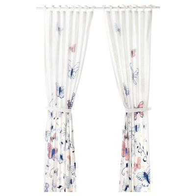 SÅNGLÄRKA Zavjese s vezicama, 1 par, leptir/bijela plava, 120x300 cm