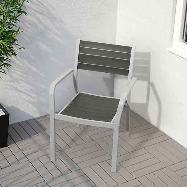 SJÄLLAND Stol+2stolice s nasl za ruk, vanjsk, tamnosiva/Kuddarna siva, 71x71x73 cm