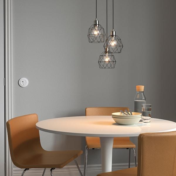 SKAFTET Set,trostruki kabel sa strop okovom, okruglo presvučeno niklom