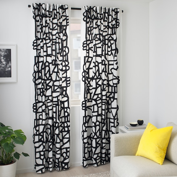 SKUGGBRÄCKA Tkanina, bijela/crna, 150 cm