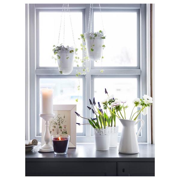 SKURAR Viseća tegla za biljke, u zatvorenom/na otvorenom/krem, 12 cm