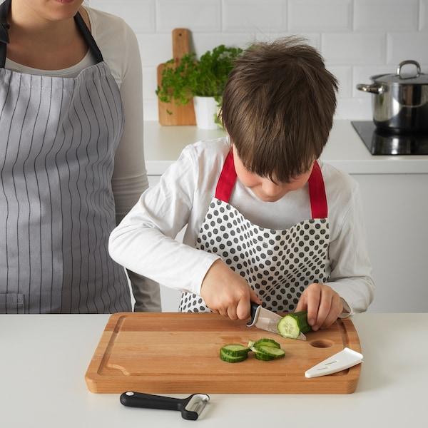 SMÅBIT Nož i ljuštilica, crna/bijela